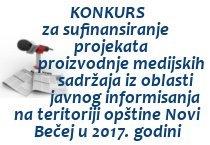 Konkurs iz oblasti javnog informisanja u 2017.oj godini